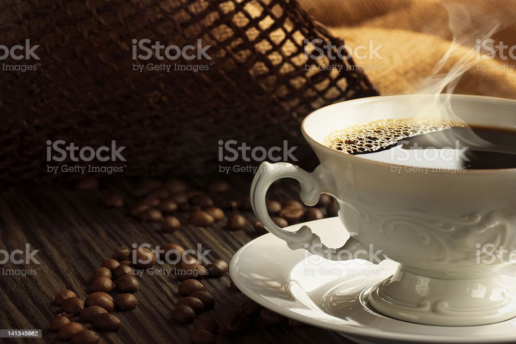 Steaming coffee royalty-free stock photo