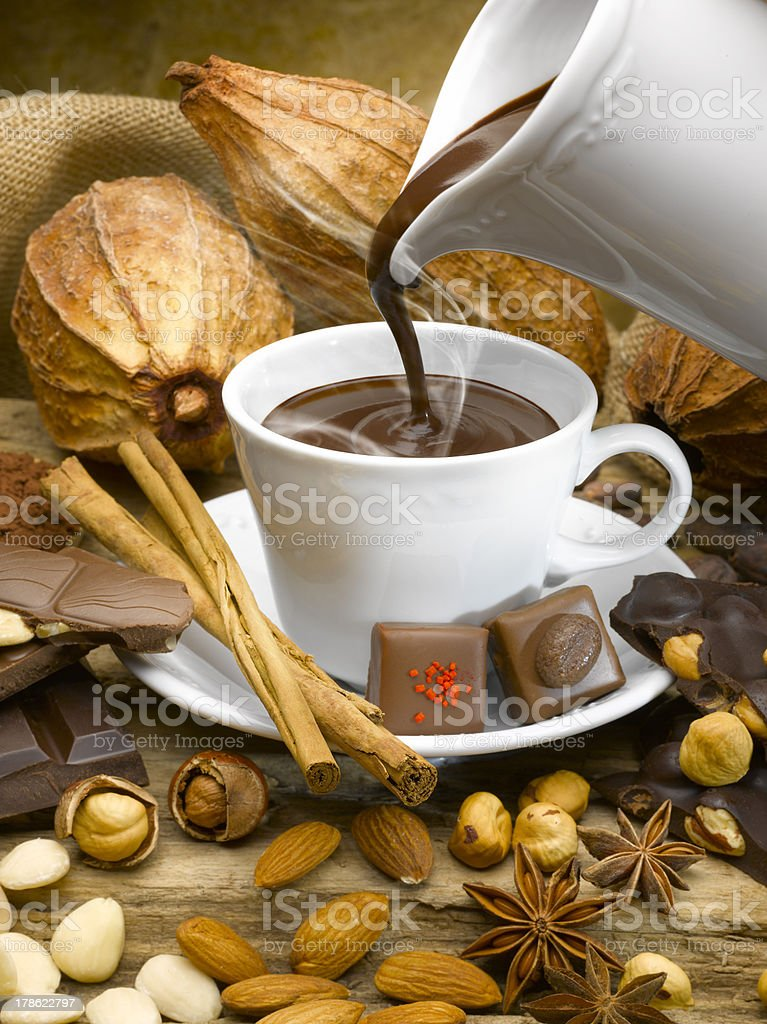 Steaming cup of chocolate royalty-free stock photo