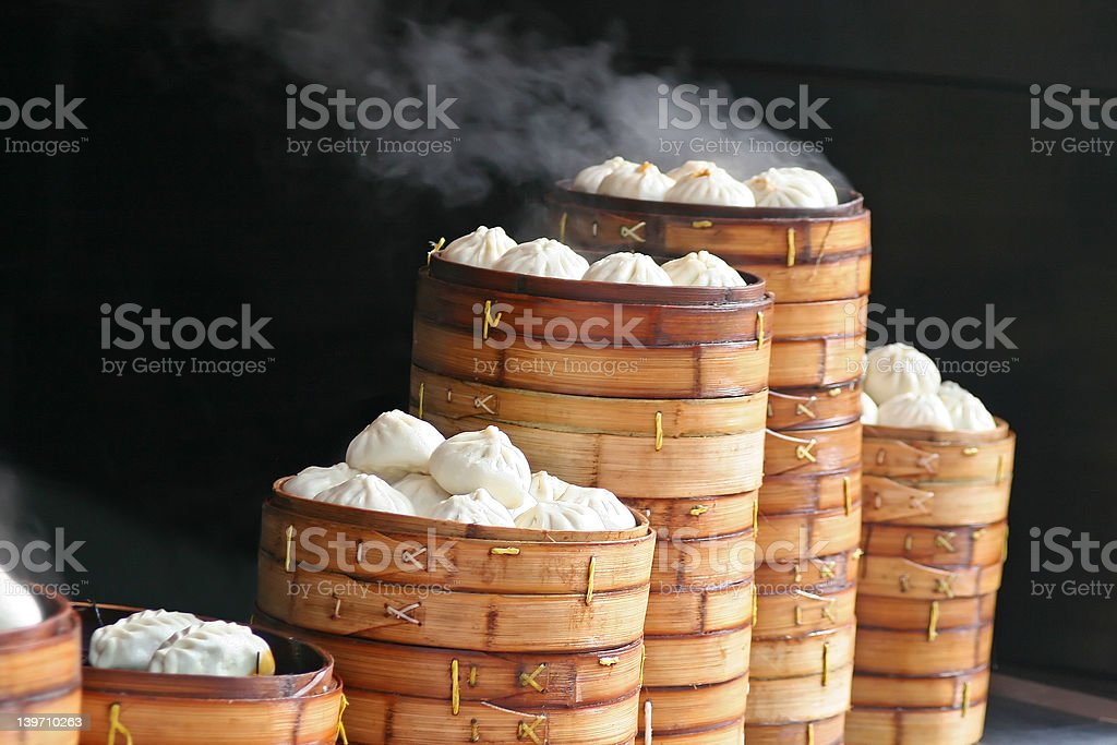 Steaming Dumplings stock photo
