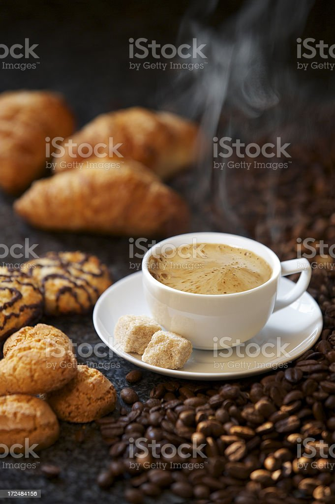 steaming espresso coffee royalty-free stock photo