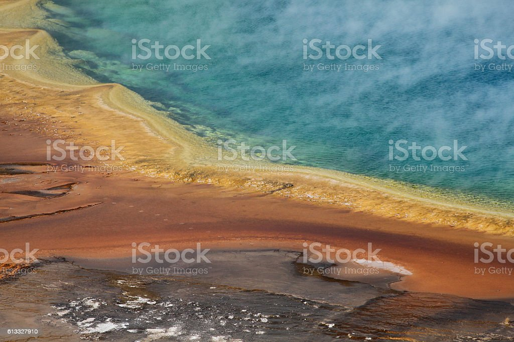 Steaming Grand Prismatic Spring stock photo