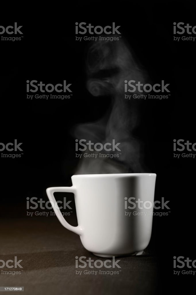 Steaming hot coffe or tea cup stock photo
