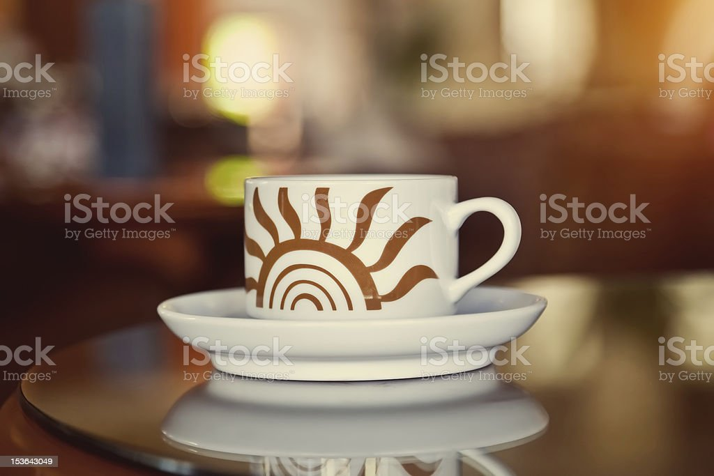 Steaming Hot Coffee in a Restaurant Table royalty-free stock photo
