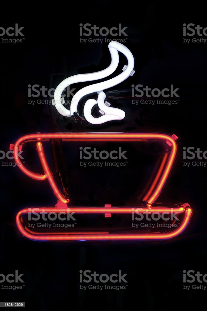 Steaming Hot Cup of Coffee in Neon royalty-free stock photo