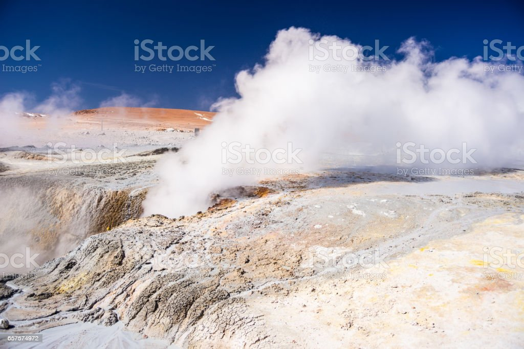 Steaming hot water ponds and mud pots stock photo