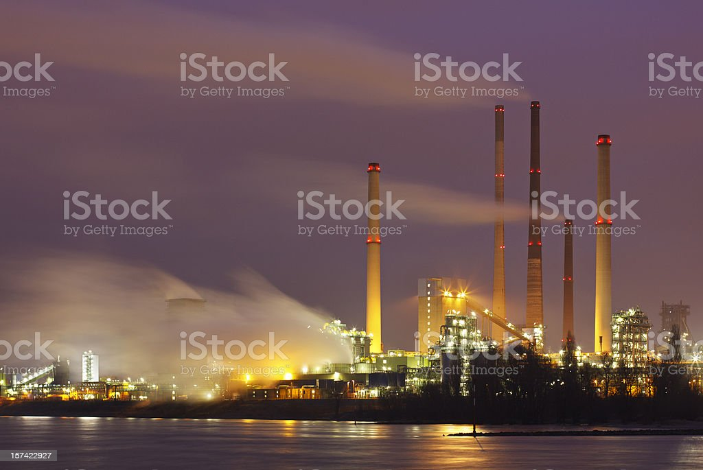 Steaming Industry At Night stock photo