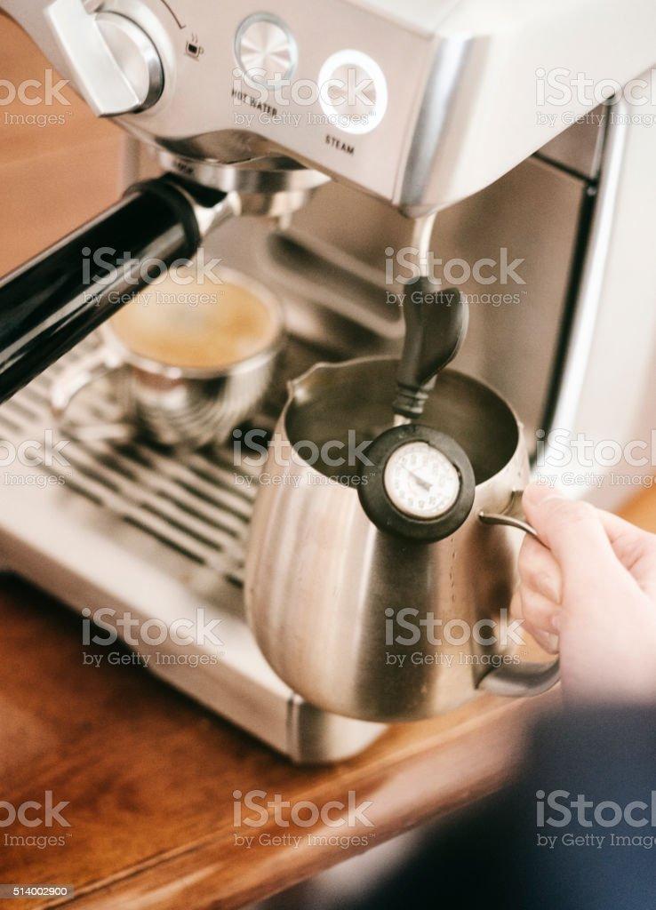 Steaming Milk with an Espresso Machine stock photo