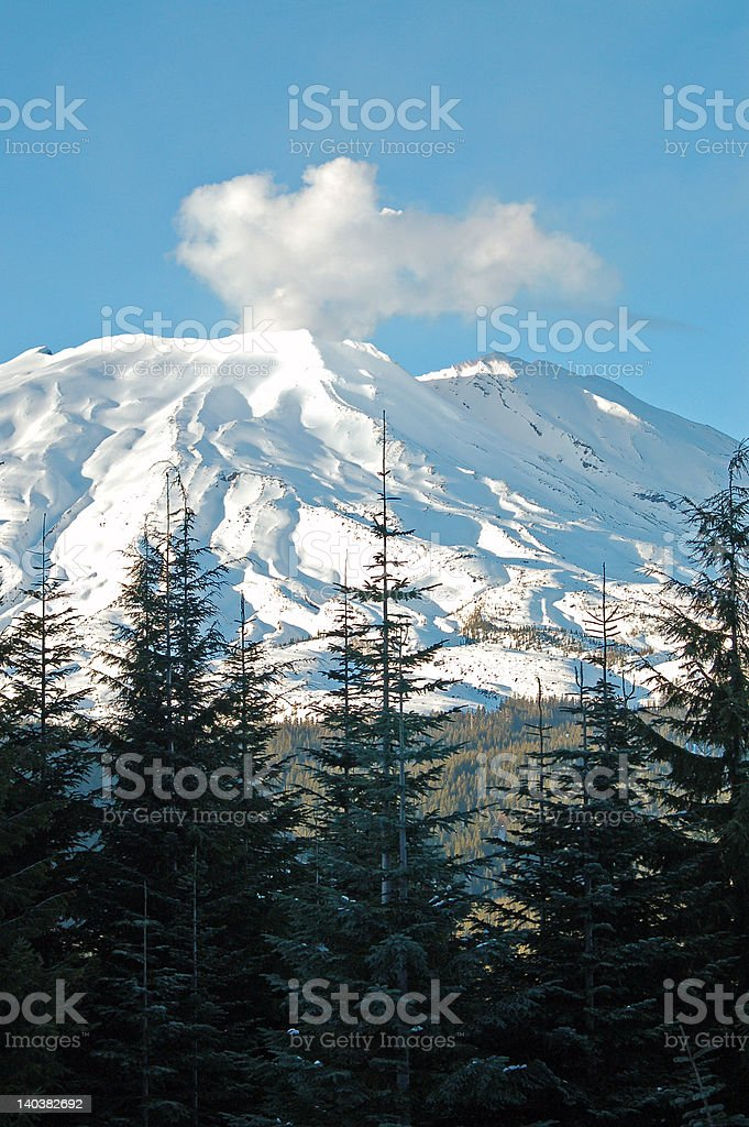 Steaming Mt. St. Helens Volcano stock photo