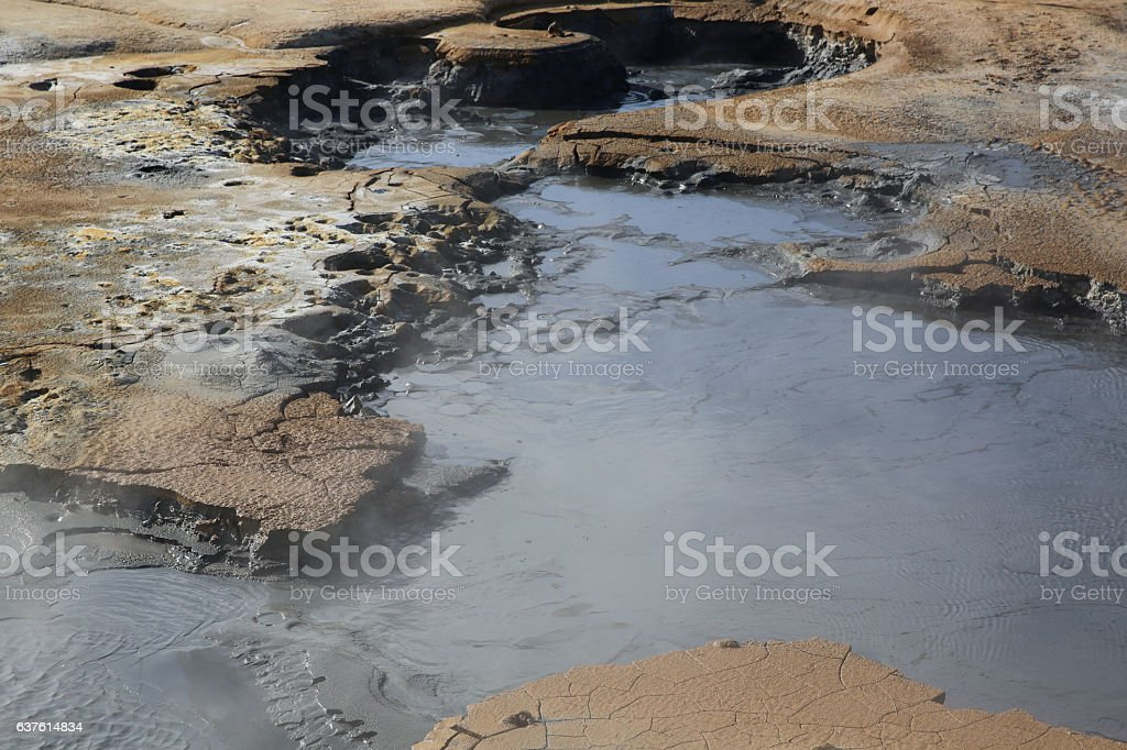 Steaming Mud Pots in the Namaskard geothermal area stock photo
