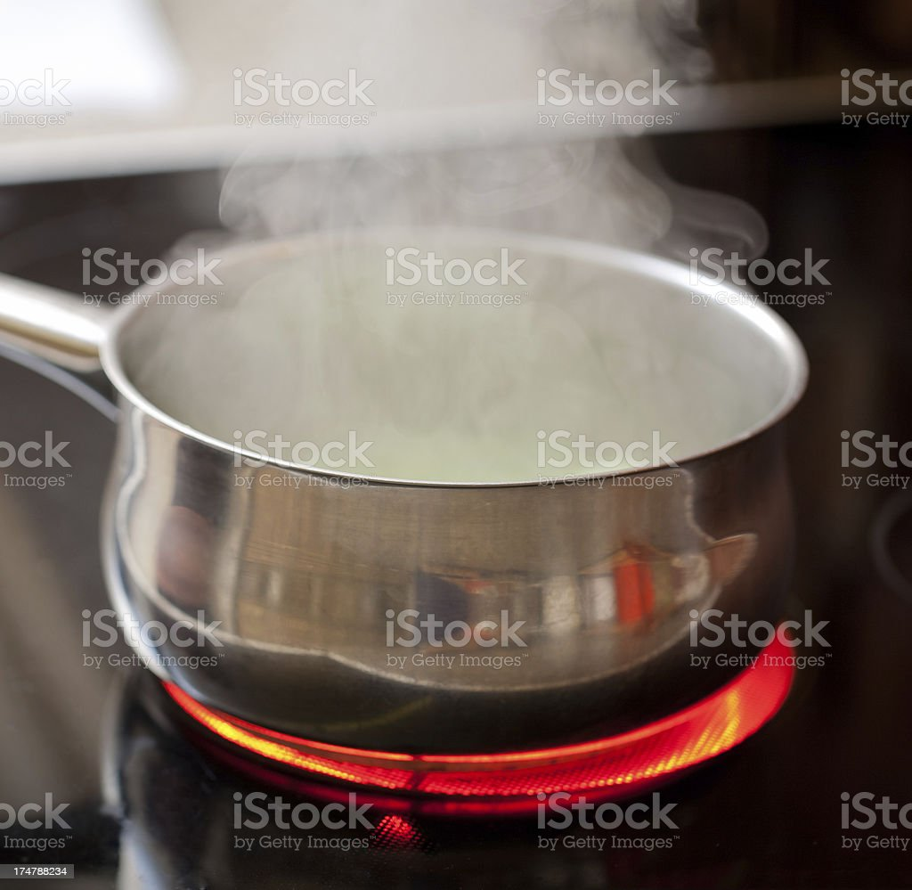 Steaming pan on ceramic hob royalty-free stock photo