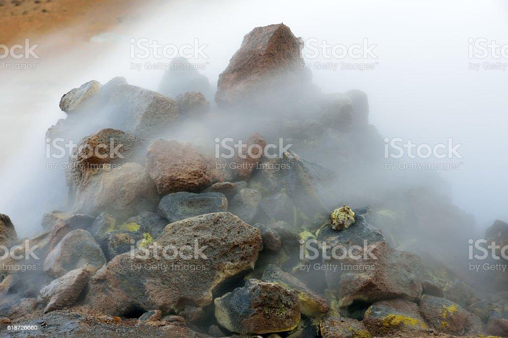 Steaming rocks at Namaskard in Iceland stock photo