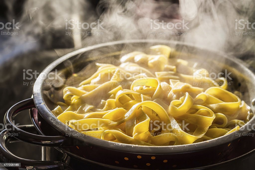 Steaming strainer of noodles stock photo