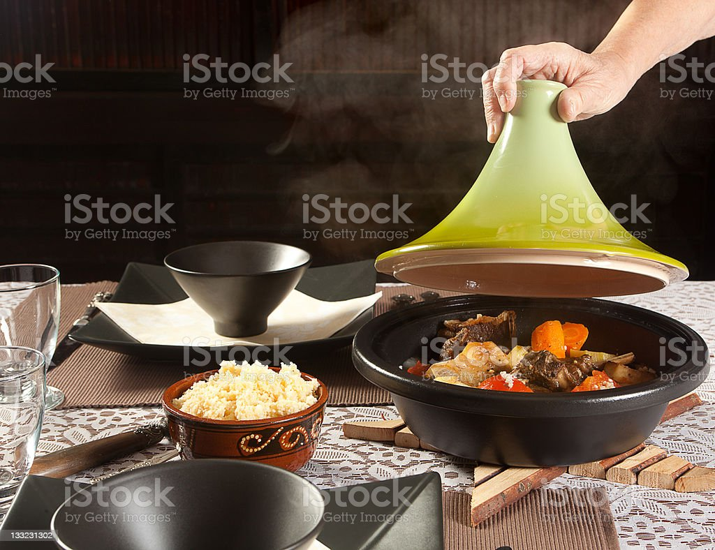 Steaming tajine food royalty-free stock photo