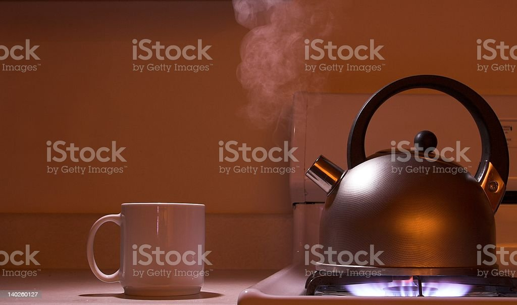 steaming tea kettle royalty-free stock photo