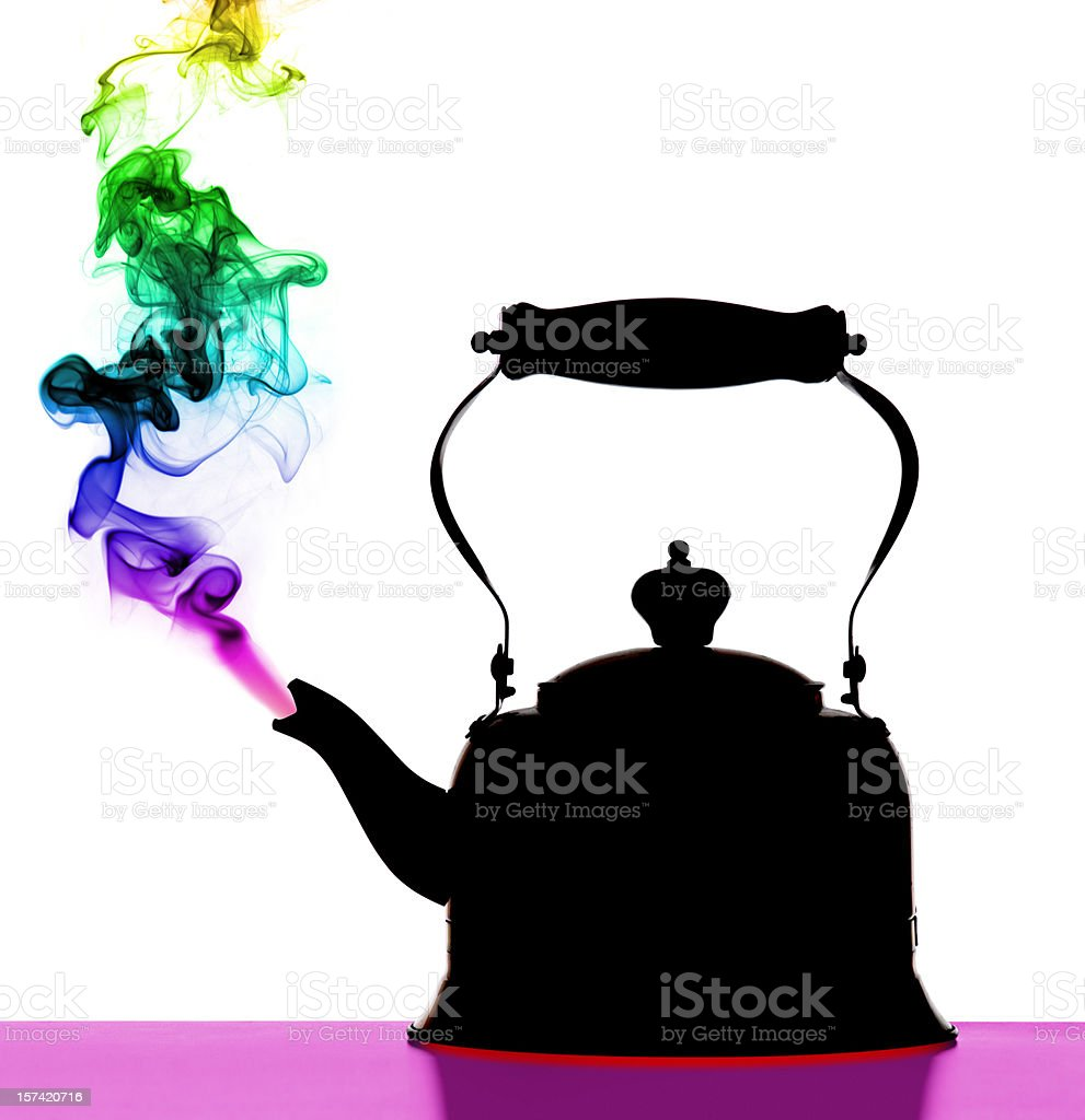 Steaming Tea Pot; Colorful Abstract Psychedelic Art Vision stock photo