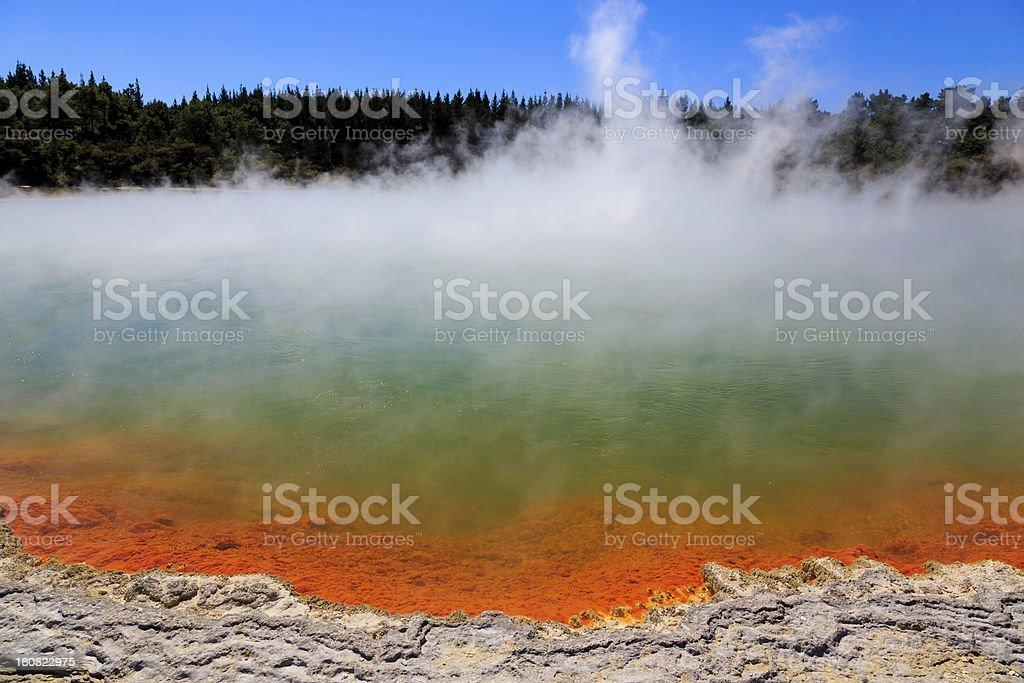 Steaming Water at Champagne Pool, Waiotapu Thermal Reserve, Rotorua royalty-free stock photo