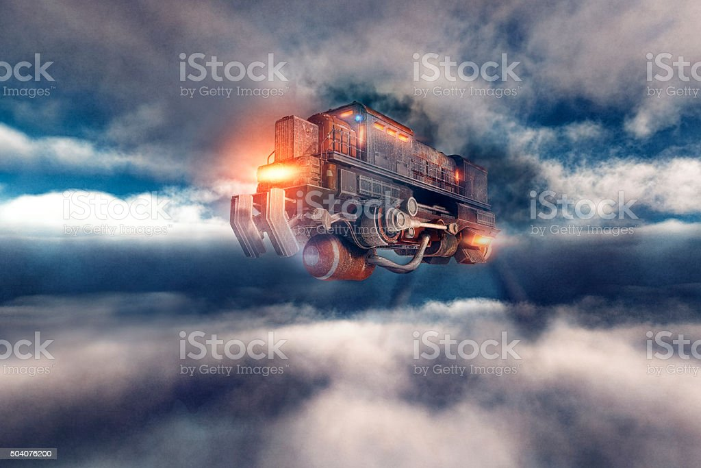 Steampunk airship flying train in the sky stock photo
