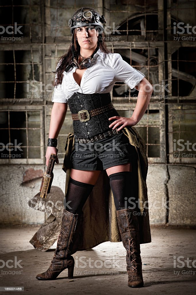 Steampunk Babe is Ready For a Fight royalty-free stock photo