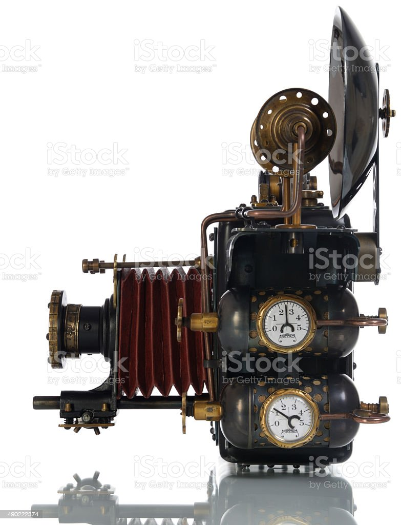 Steampunk camera stock photo