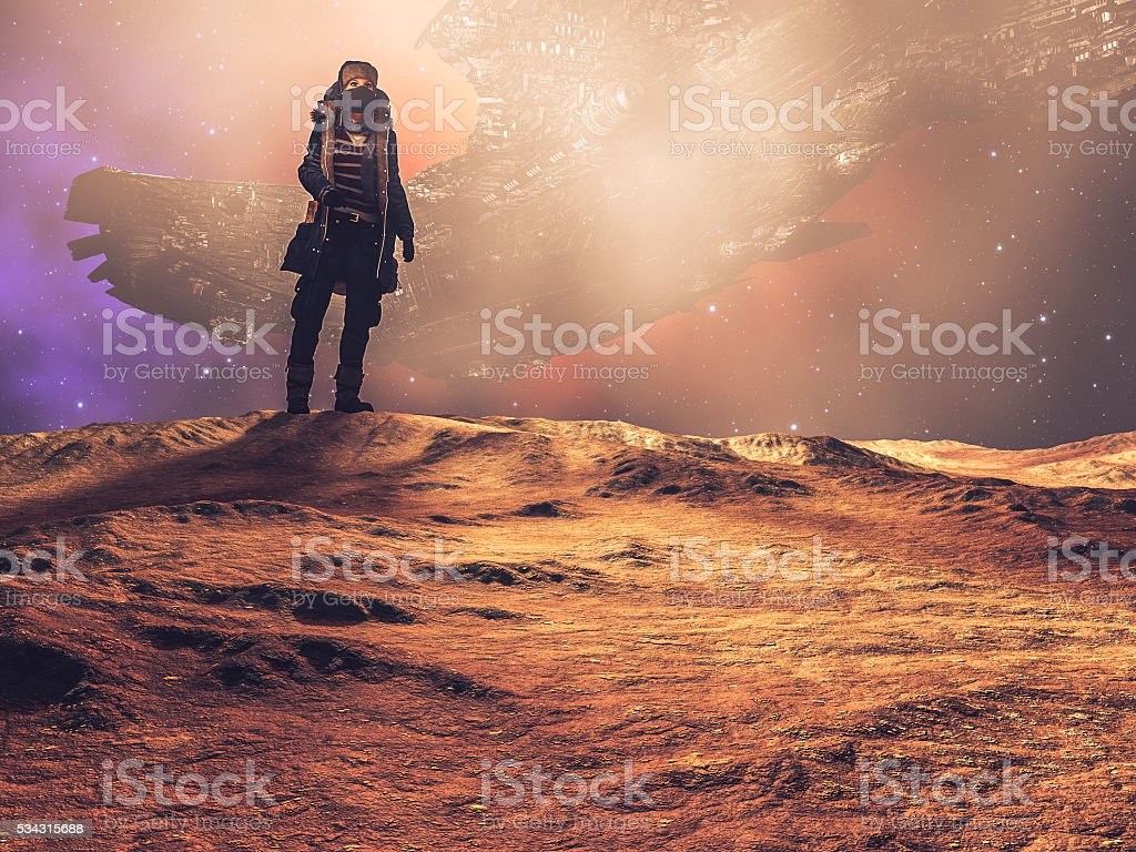 Steampunk explorer on distant planet, spaceship, desert stock photo