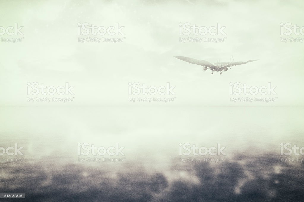 Steampunk flying maching over the flat icy seascape stock photo