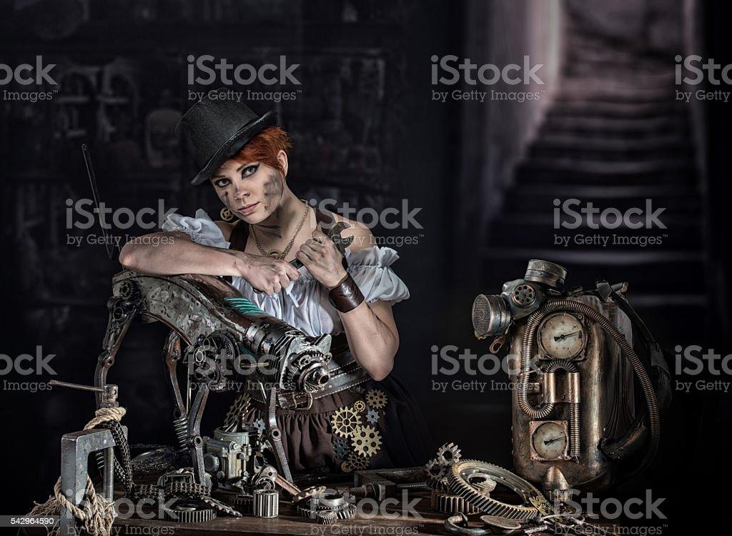 Steampunk girl stock photo