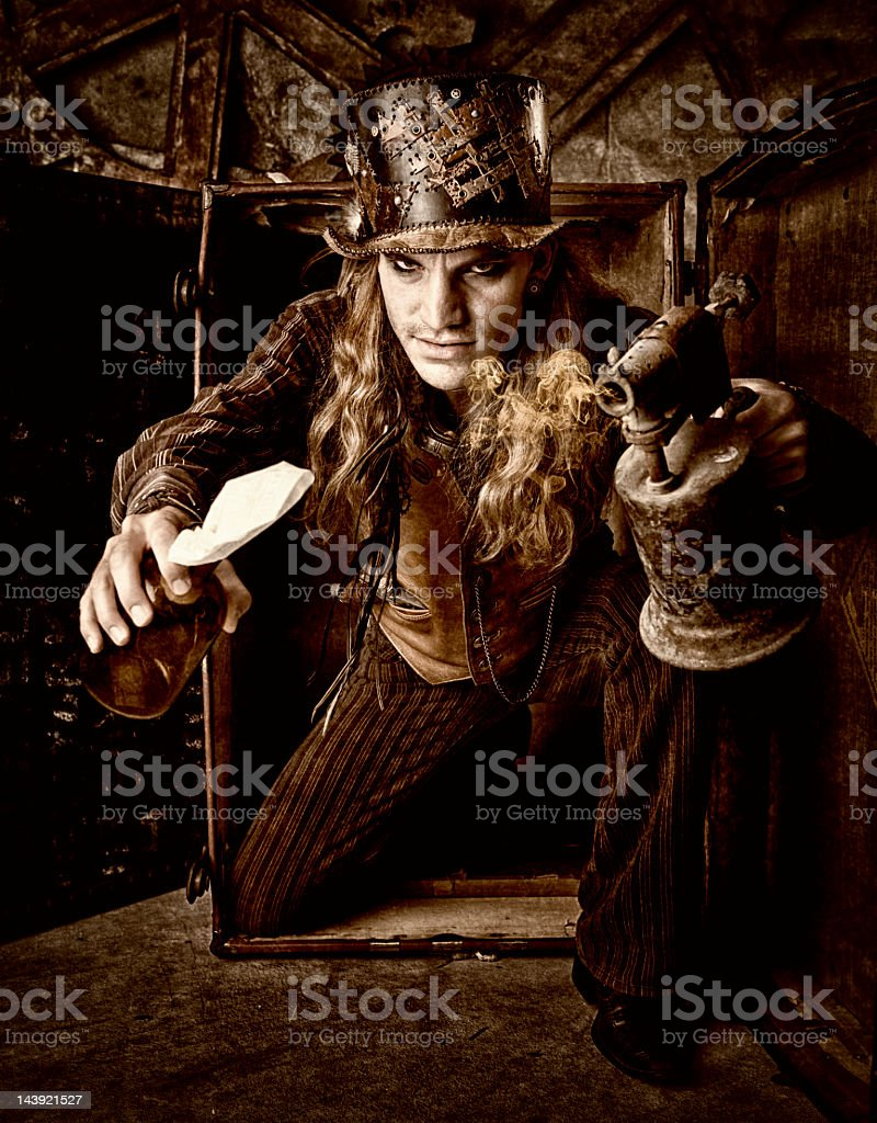 Steampunk Man with Molotov Cocktail stock photo