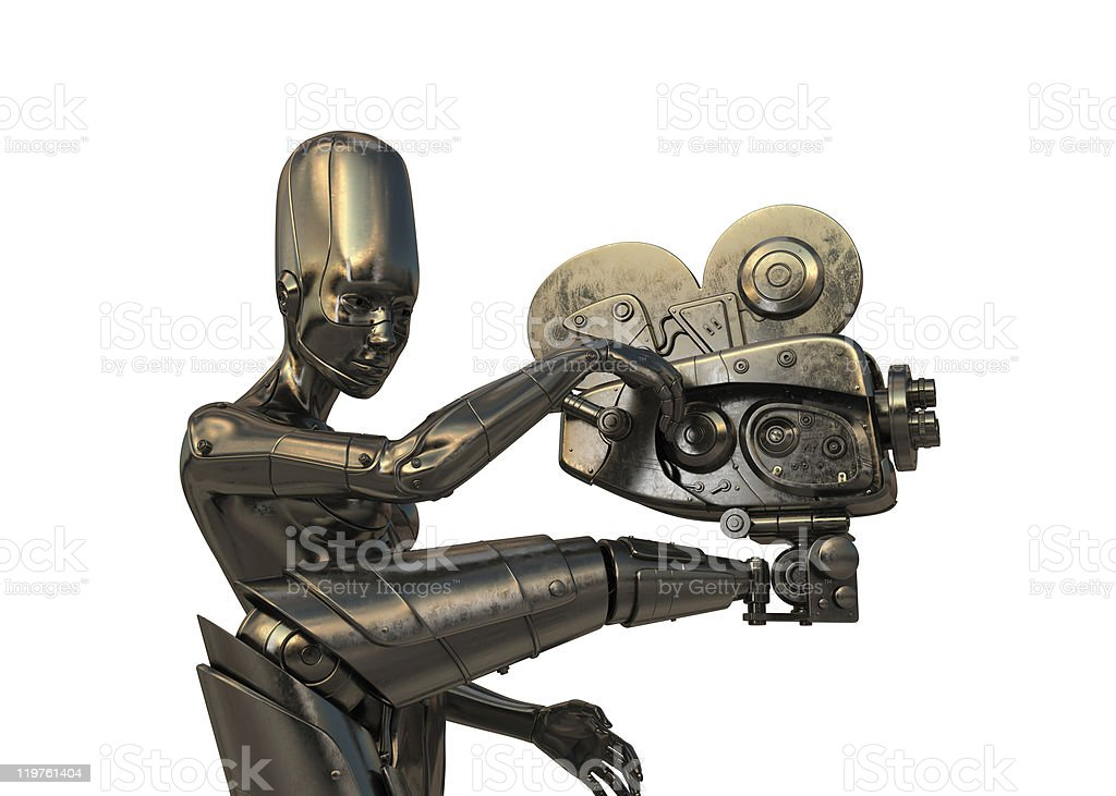 Steampunk robot with vintage camera royalty-free stock photo