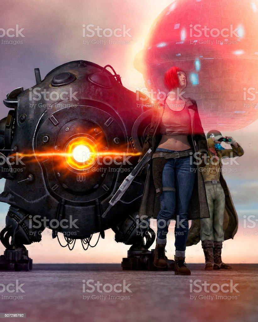 Steampunk space superhero team stock photo