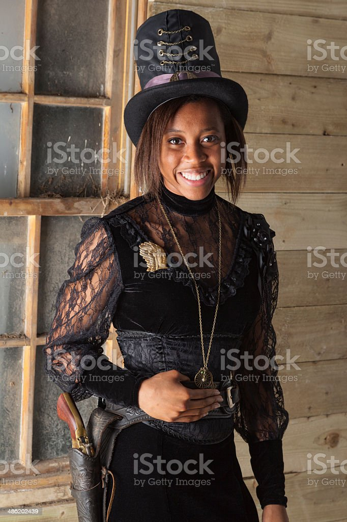 Steampunk Victorian Afro-Caribbean Girl stock photo
