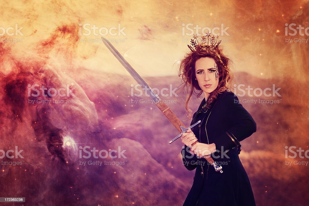 Steampunk Warrior Queen Wielding Her Sword and Wearing Crown royalty-free stock photo