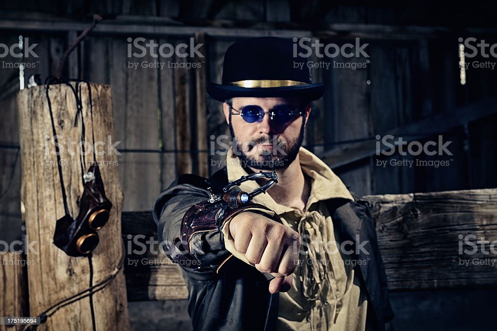 Steampunk Warrior With Arm Weapon royalty-free stock photo