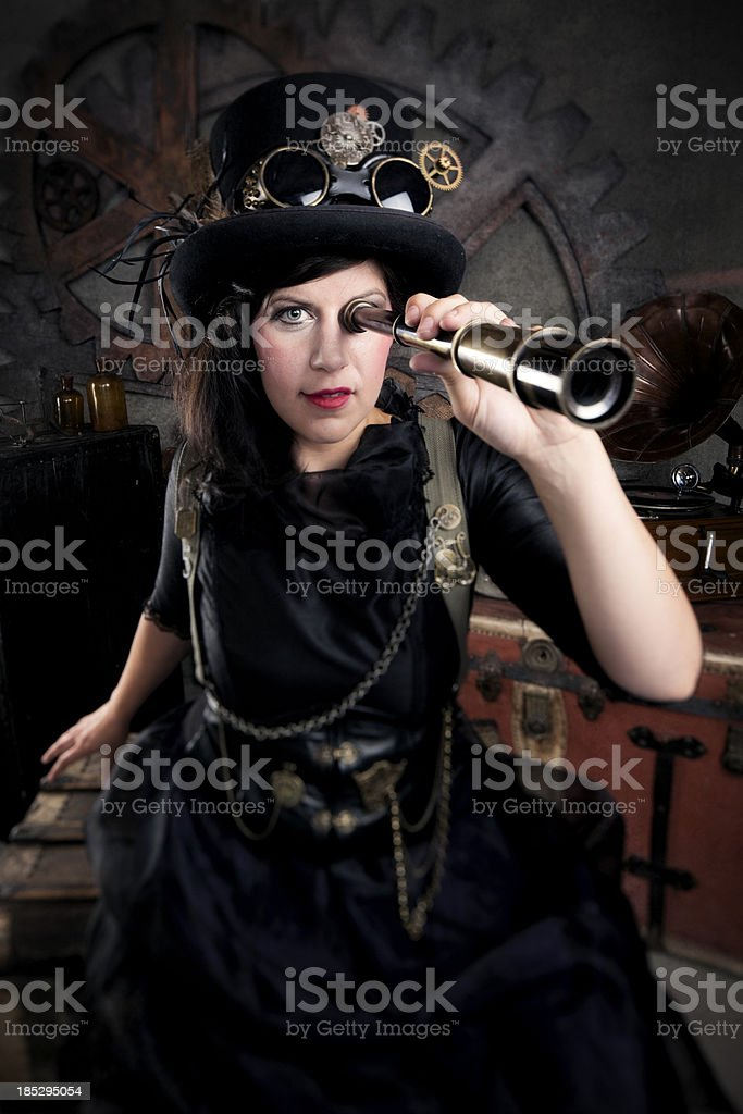 Steampunk Woman with a Telescope royalty-free stock photo
