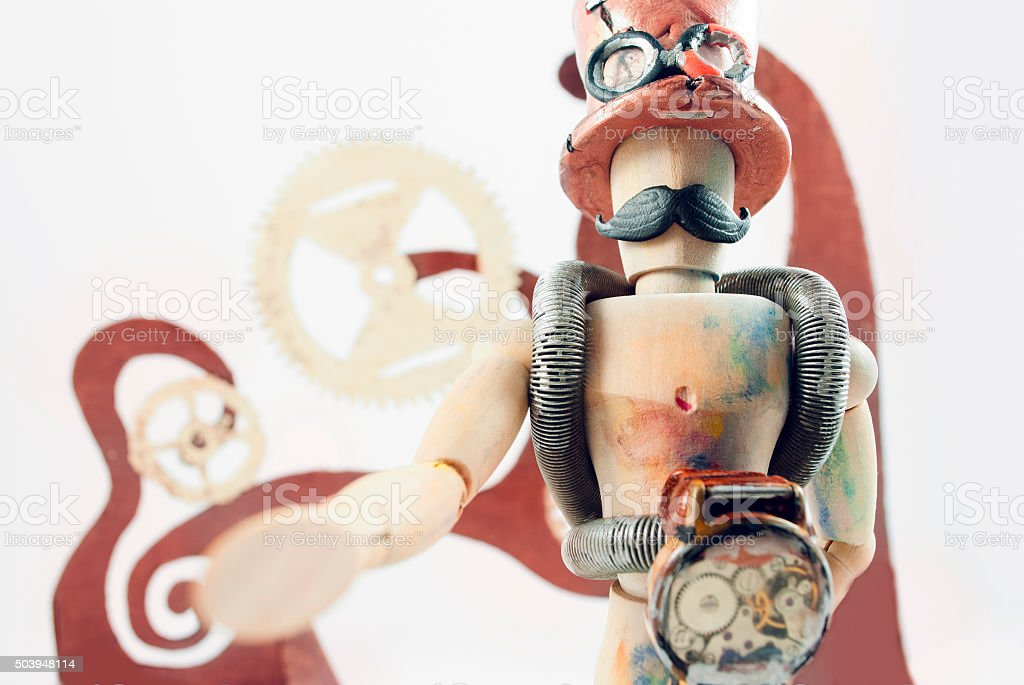 Steampunk wooden dummy. stock photo
