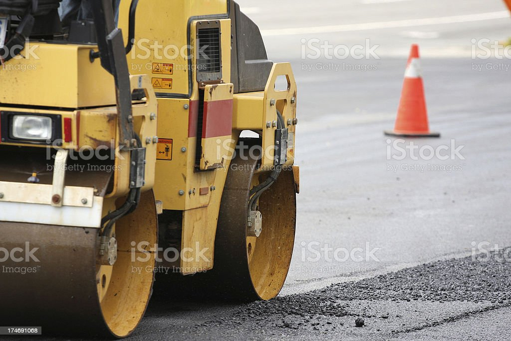 Steamroller At Work royalty-free stock photo
