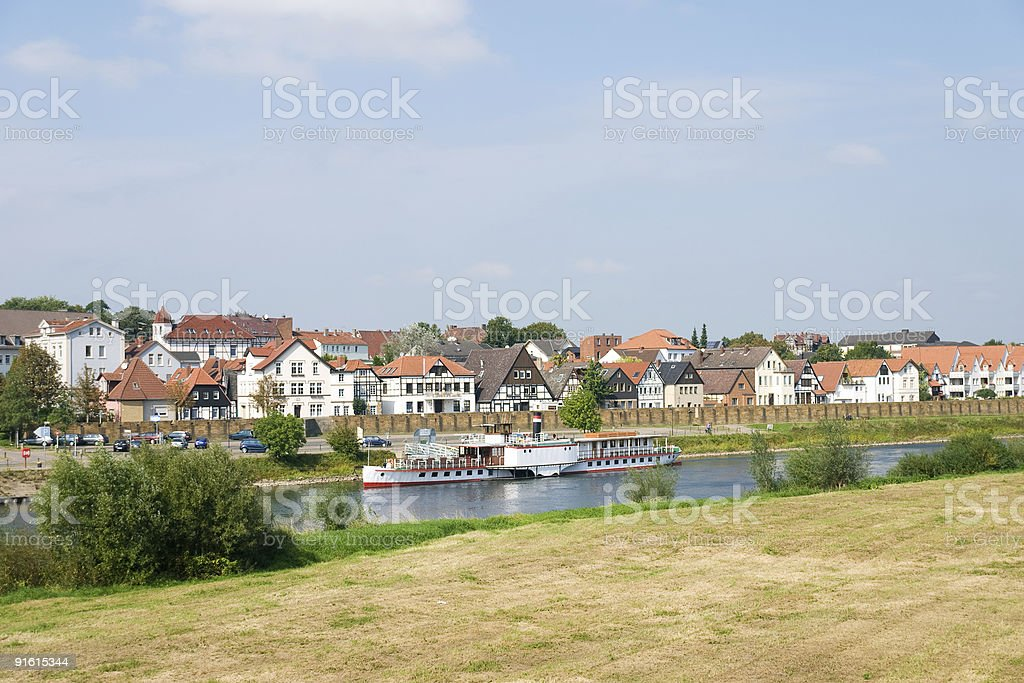 Steamship on a River stock photo