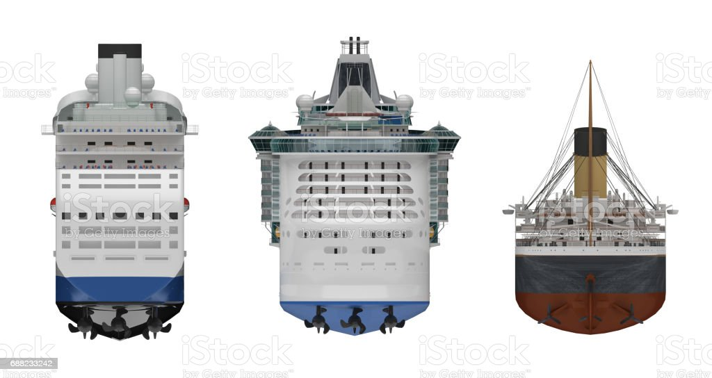 steamship rear view isolated white 3d rendering stock photo