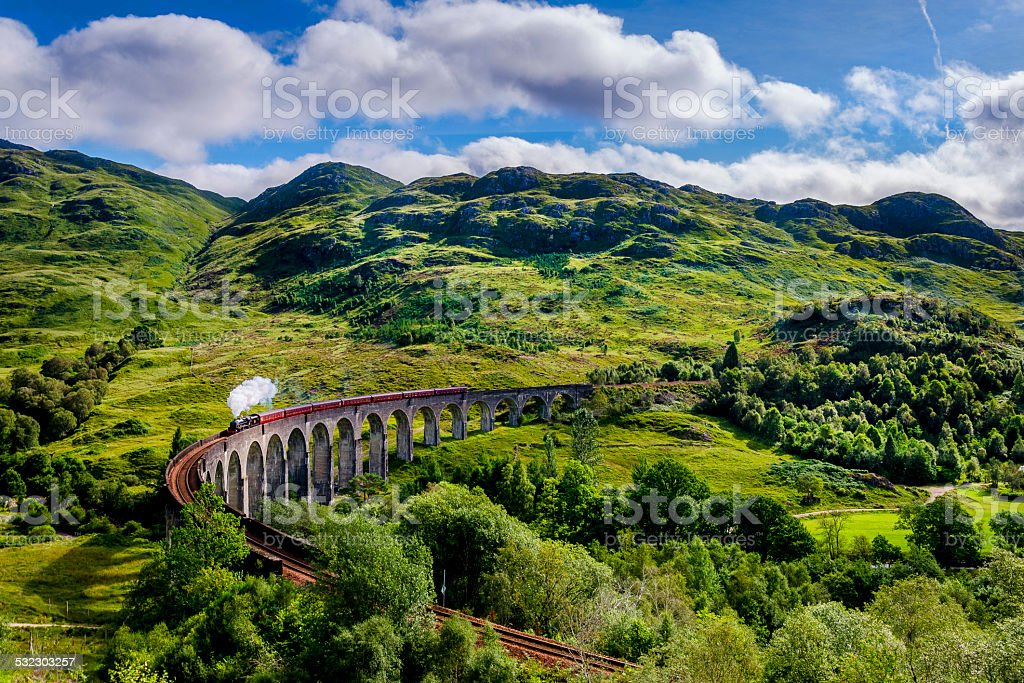 Steamtrain on the Glenfinnan Viaduct stock photo