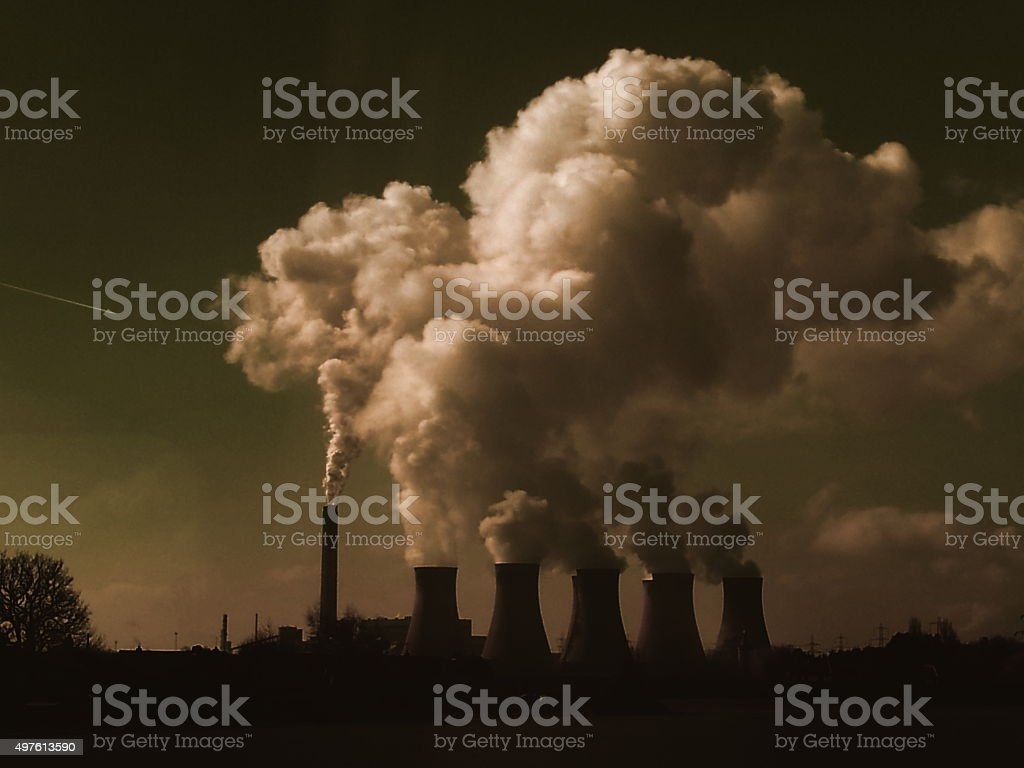 Steamy cooling towers stock photo