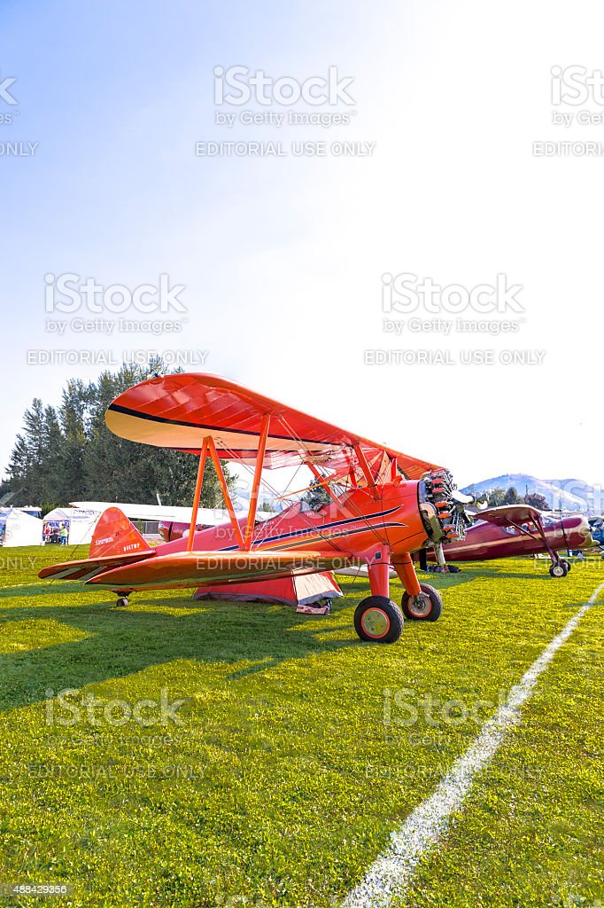 Stearman Airplane Tent at Fly-In Hood River Oregon stock photo