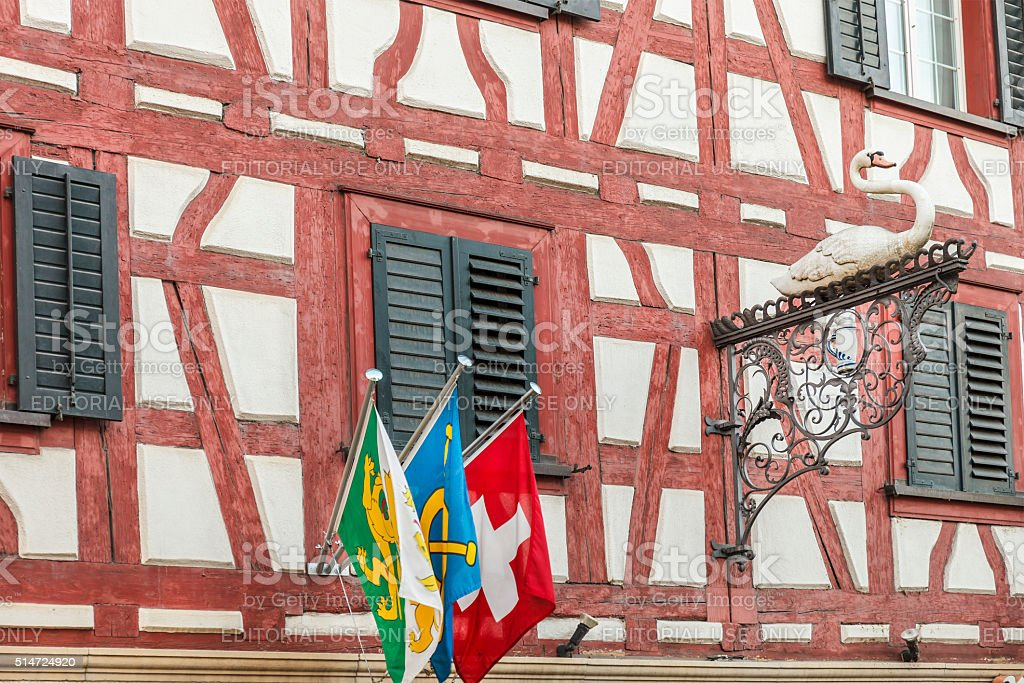 Steckborn, Half-timbered House - Lake Constance, Switzerland stock photo