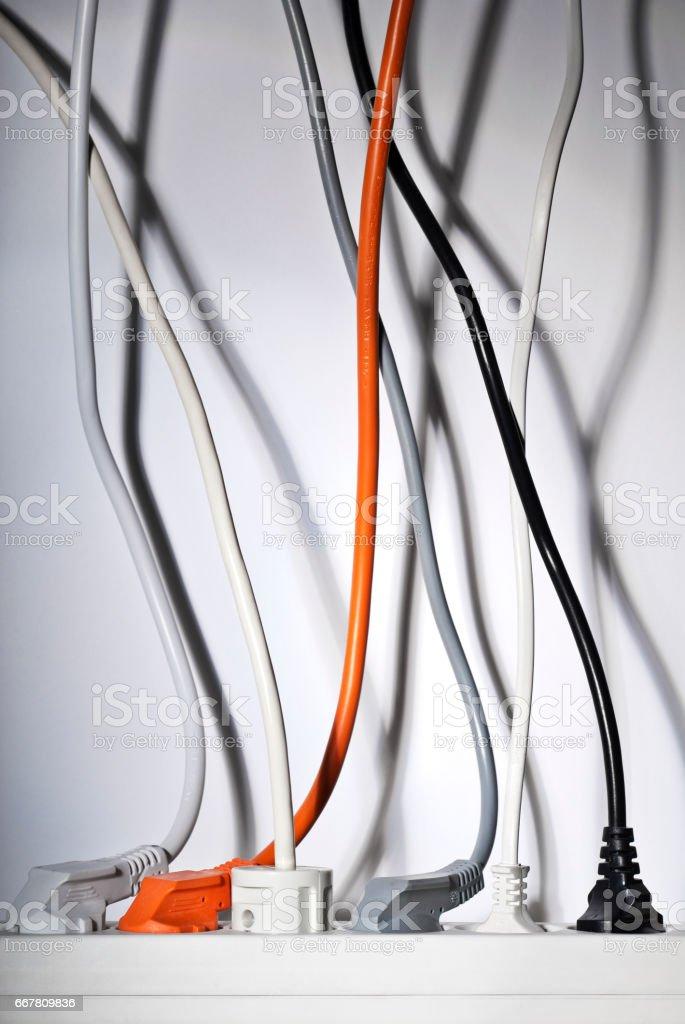 Steckdosenleiste und Kabel stock photo