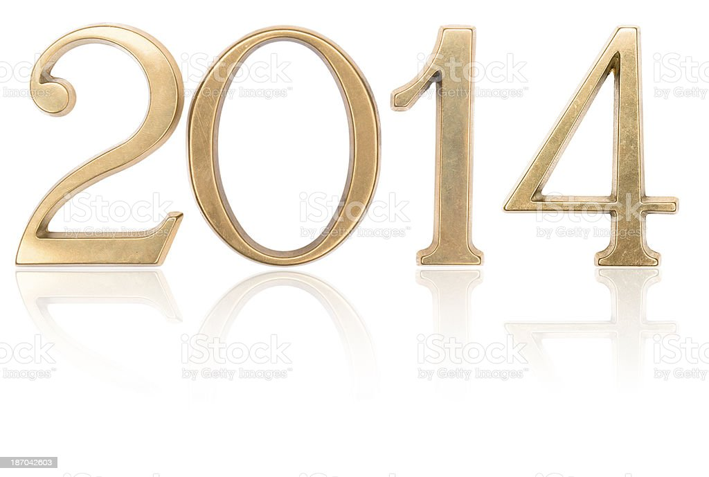 Steel 2014 New year text on white background royalty-free stock photo