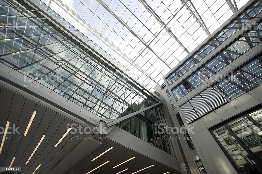 Steel and glass,the squaire, Frankfurt, airport, Rhein Main Flughafen stock photo