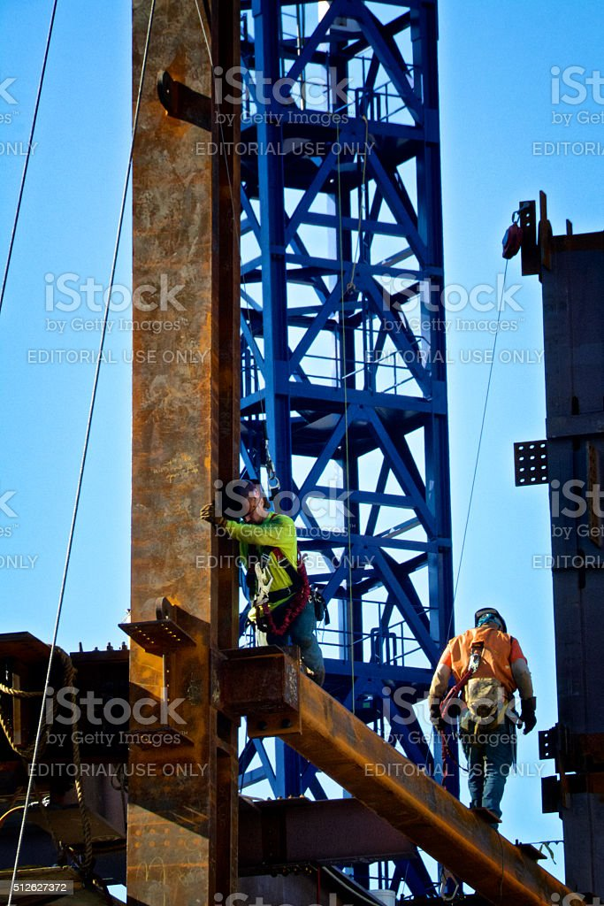 Steel and Iron workers on girder, Manhattan, New York City stock photo