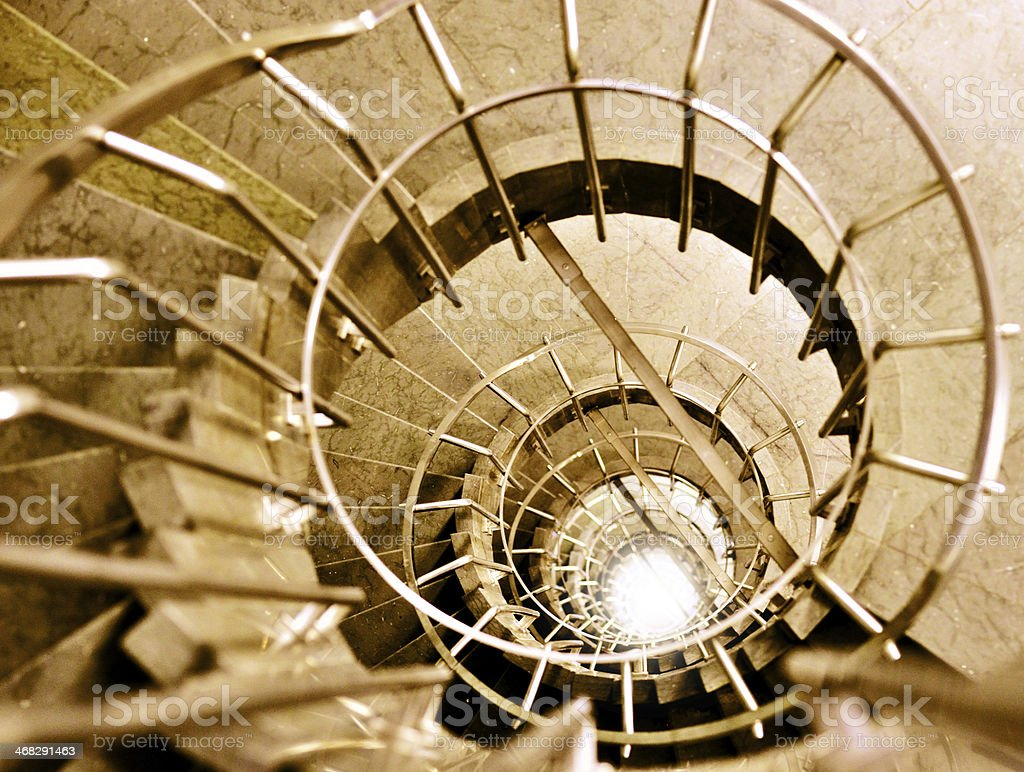 Steel and marble spiral staircase royalty-free stock photo
