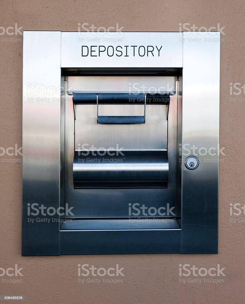 Steel Bank Night Depository Drawer stock photo