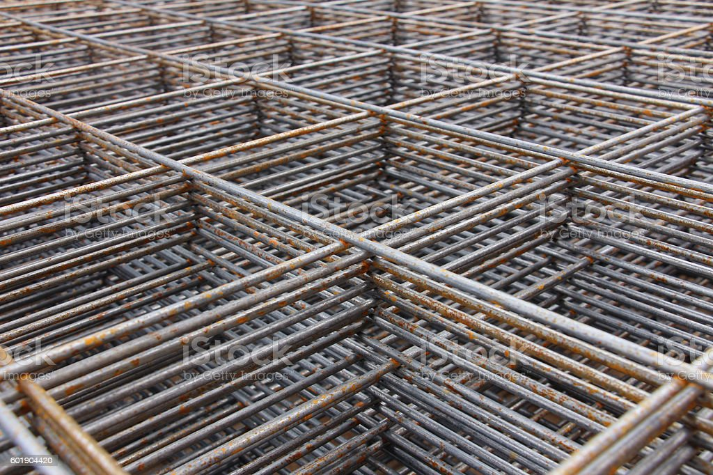 steel bar framework, in the construction site stock photo