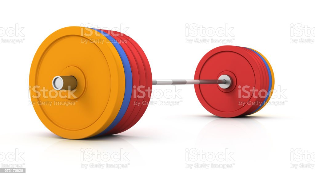 Steel barbell isolated in the white background stock photo