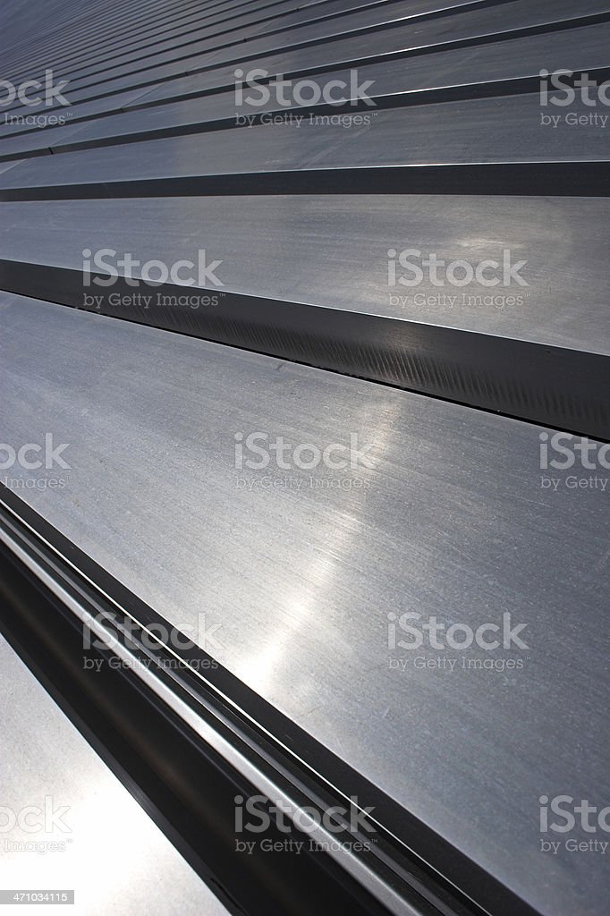 Steel bars laid down parallel to each other royalty-free stock photo